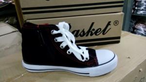 Sepatu Sekolah New Basket Hitam Putih Tinggi